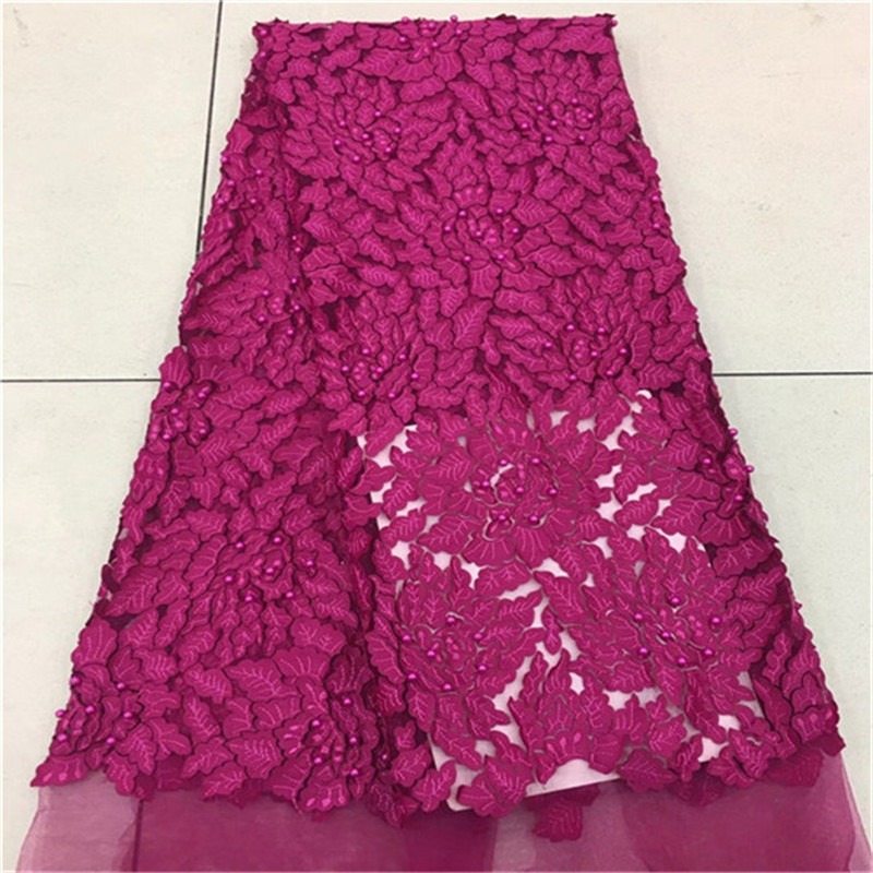 2018 New Design African Cord Lace Fabrics With Beads High Quality 2018 Nigerian Lace Fabric For