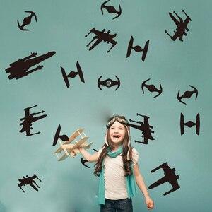 Настенная Наклейка для мальчика из мультфильма «Звездные войны», детская комната, Звездные войны, космические корабли, настенные наклейки ...