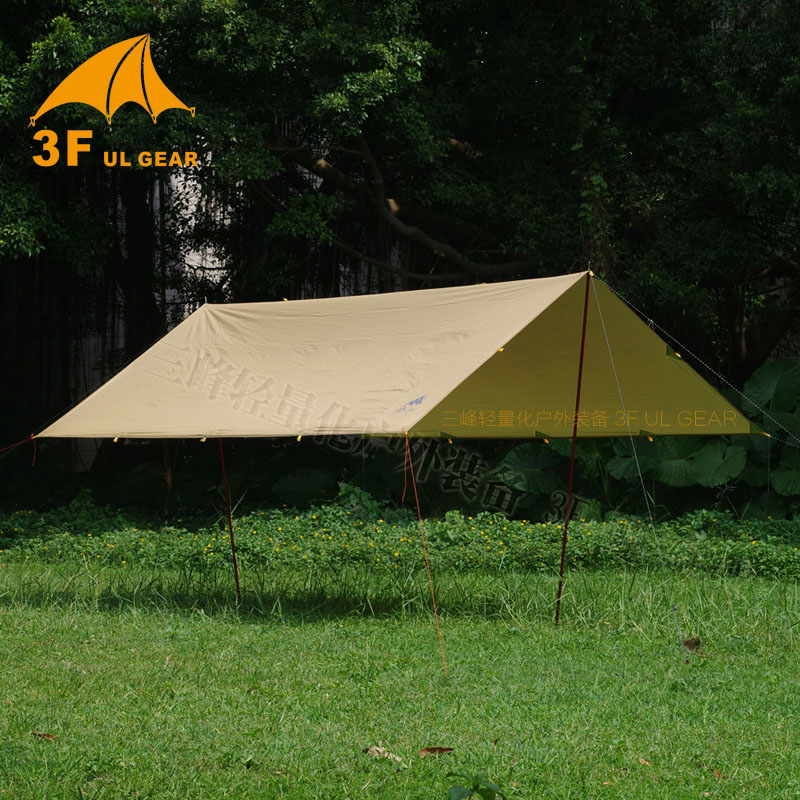 3F UL GEAR Tarp Korea National Forest 4x4.4m Anti UV 210T With Silver Coating Outdoor Large Shelter Beach Awning Tourist Canopy