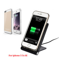 Qi Wireless Charger Pad Stand With Receiver Case For Iphone 5 5S SE 6 6S 6