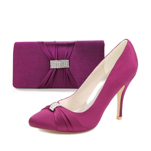 Elegant purple pointed toe lady pumps with knot rhinestone ring bridal shoes with matching clutch bag handbag party fashion kit