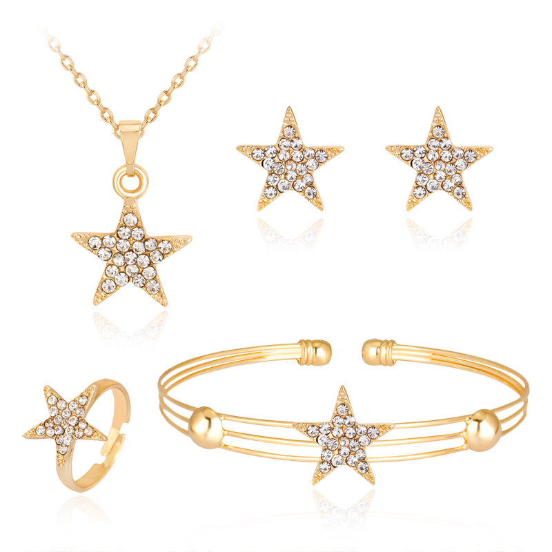 danbihuabi Fashion jewelry African Beads Five-pointed star pendant Jewelry Set Women Wedding Necklace Bracelet Earring Ring sets
