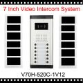 1V12 Video Intercom Phone One to TwelveVideo Doorphone Kit 7 inch Display Wired apartments Intercom System