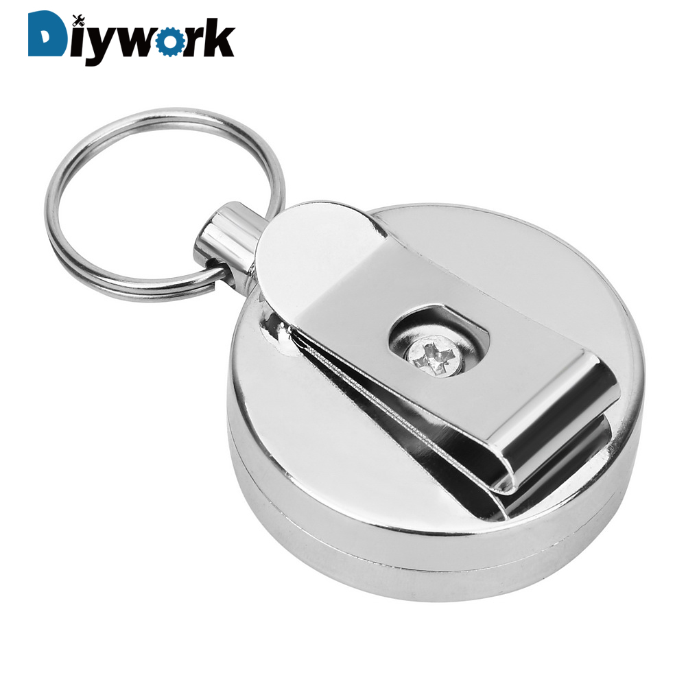 DIYWORK 60cm Key Chain Ring Clip Anti-theft Keychain Pull Keyring Retracting Extendable Metal Wire Wire Rope