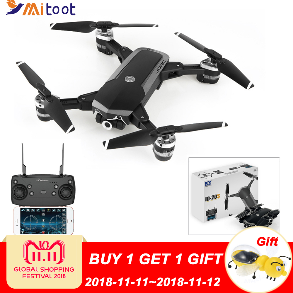 Mitoot JD-20S JD20S WiFi FPV Foldable Drone 2MP HD Camera With 18mins Flight Time RC Quadcopter RTF eboyu 2 4ghz 4ch transmitter for jd 18tx jd 18 jy018 rc quadcopter foldable drone phone clip
