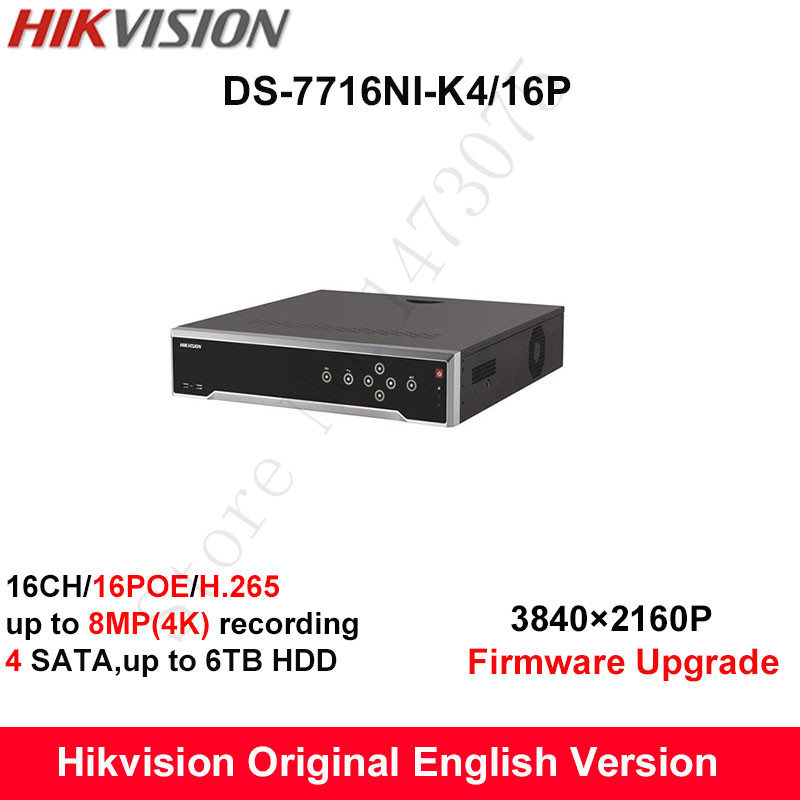 In stock Hikvision DS 7716NI K4 16P original English H 265 16CH NVR with 4 SATA