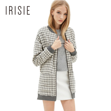 IRISIE Apparel 2018 Casual Chic Women Coats Plaid Slim Double Pockets Zipper Fly Outwear Autumn Soft