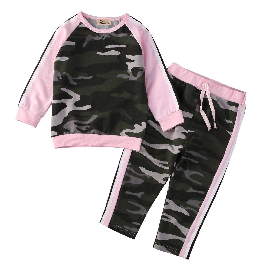Toddler Kids Children Girls Clothing Set Camouflage Outfits Long Sleeve T-shirt Tops+ Pants 2PCS Set