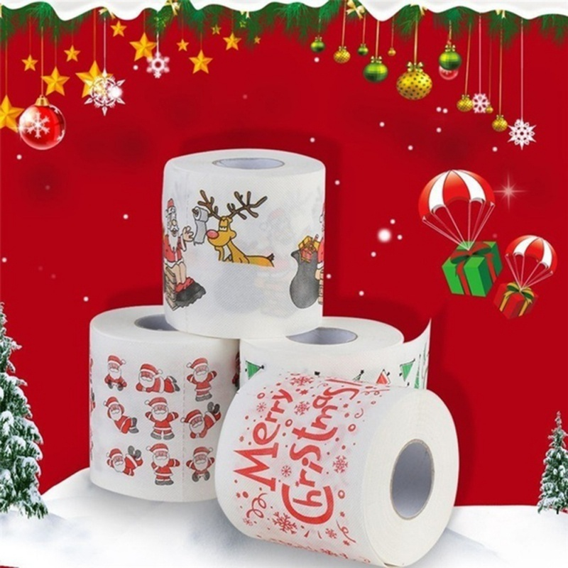 Santa Claus Tissue Roll Merry Christmas Printed Toilet Paper Toilet Tissues Roll Wholesale Party Table Room Decor