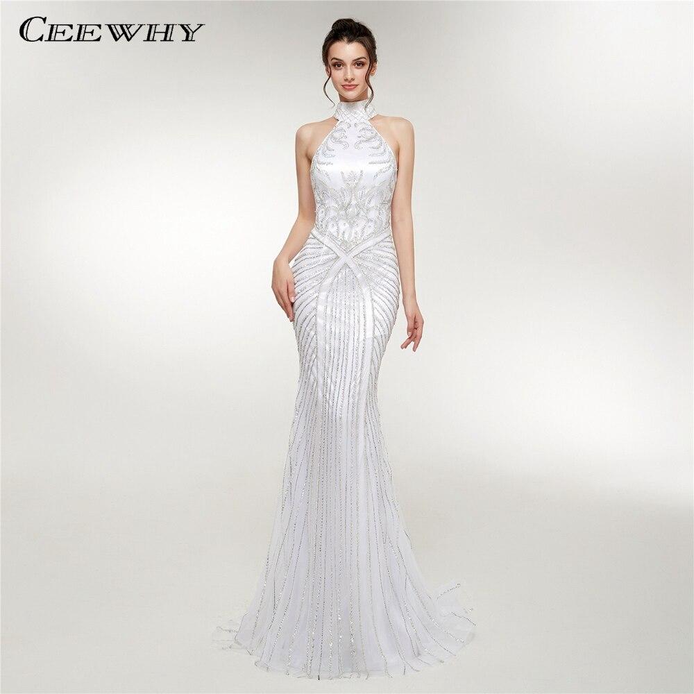 CEEWHY épaule dénudée Abendkleider Dubai cristal robe de soirée élégante sirène robes de soirée perlées robes Largos Abiye