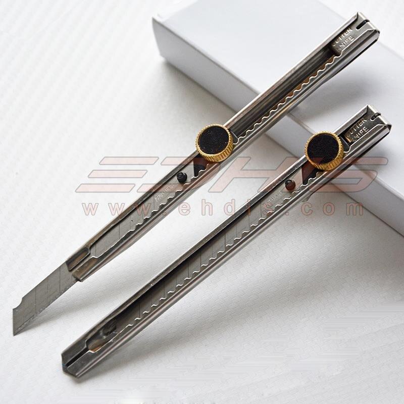 EHDIS 100 pièces acier inoxydable couteau teinte autocollant papier outil de coupe utilitaire Art couteau 9mm Auto-verrouillage Snap Off lame Cutter CN010