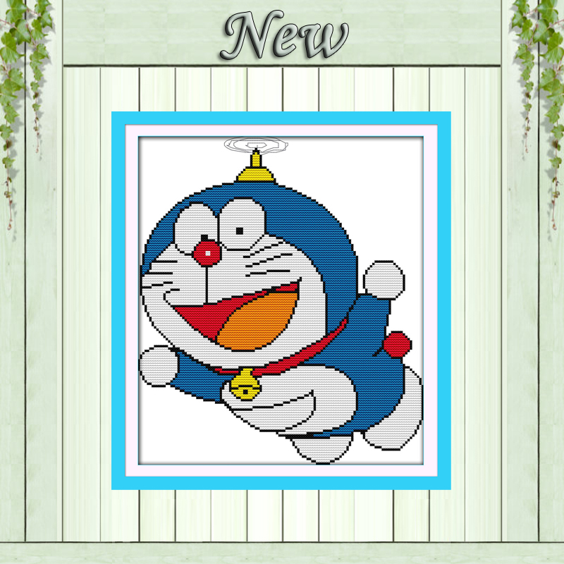 Cartoon cat Doraemon decor painting counted printed on canvas DMC 14CT 11CT Chinese Cross Stitch Needlework Sets Embroidery kits