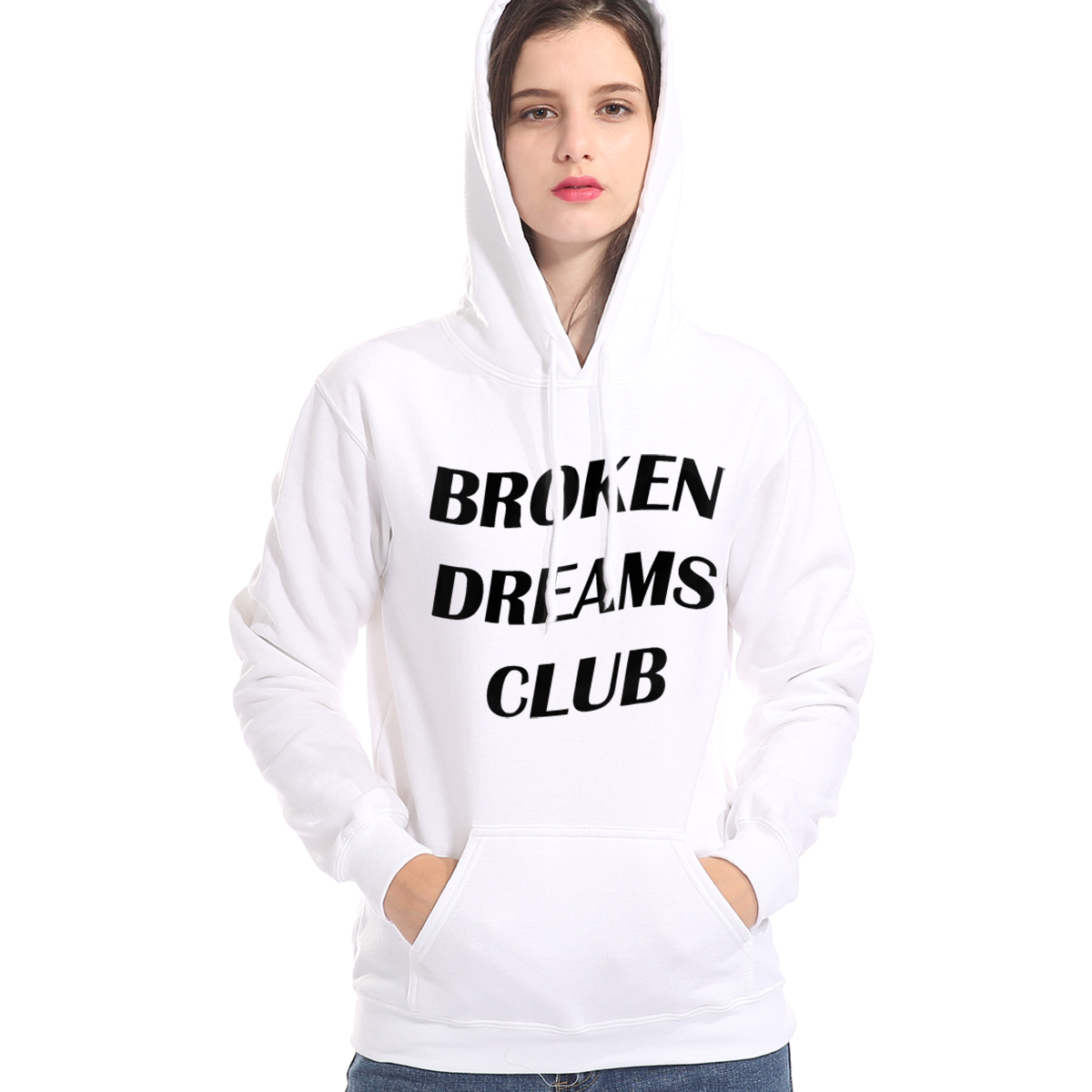 Autumn Winter Fleece Pullover 2019 Fashion Streetwear Hoody Broken Dreams Club Print Female Sweatshirt Harajuku Women's Hoodies