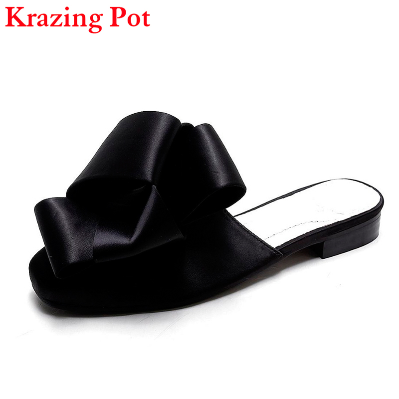 Fashion Runway Brand Summer Shoes Silk Slingback Pointed Toe Causal Women Slippers Superstar Thick Heel Office Lady Sandals L52 цены онлайн