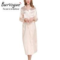 Burvogue Women Sexy Lace Robes Elegant Long Sleeve Nightwear Silk Bathrobes Satin Bride Robes Kimono Satin