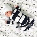 2017 Nuevo bebé de la muchacha ropa de Bebé Recién Nacido Ropa Conjuntos de Algodón de la raya de manga Larga traje de mameluco del bebé del mono infantil