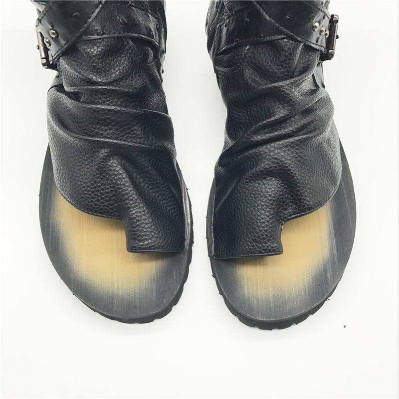 De Homens 38 Boots Ankle Preto Gladiador Sapatos Plus Couro Casual New Chinelo Flats Dos Sandálias Rebite Punk Size Fivela Mabaiwan Verão 46 4qAXcctW