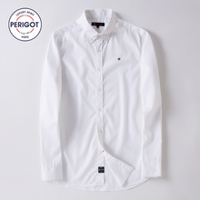 PERIGOT PGM170103 2017 New All Seasons Men's Business Casual White Shirt Male 100% Cotton Solid Classical Shirt Top S-L