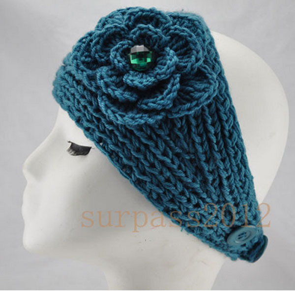 Big Size Flower Crysta Women Lady Headband crochet Knit Headwrap