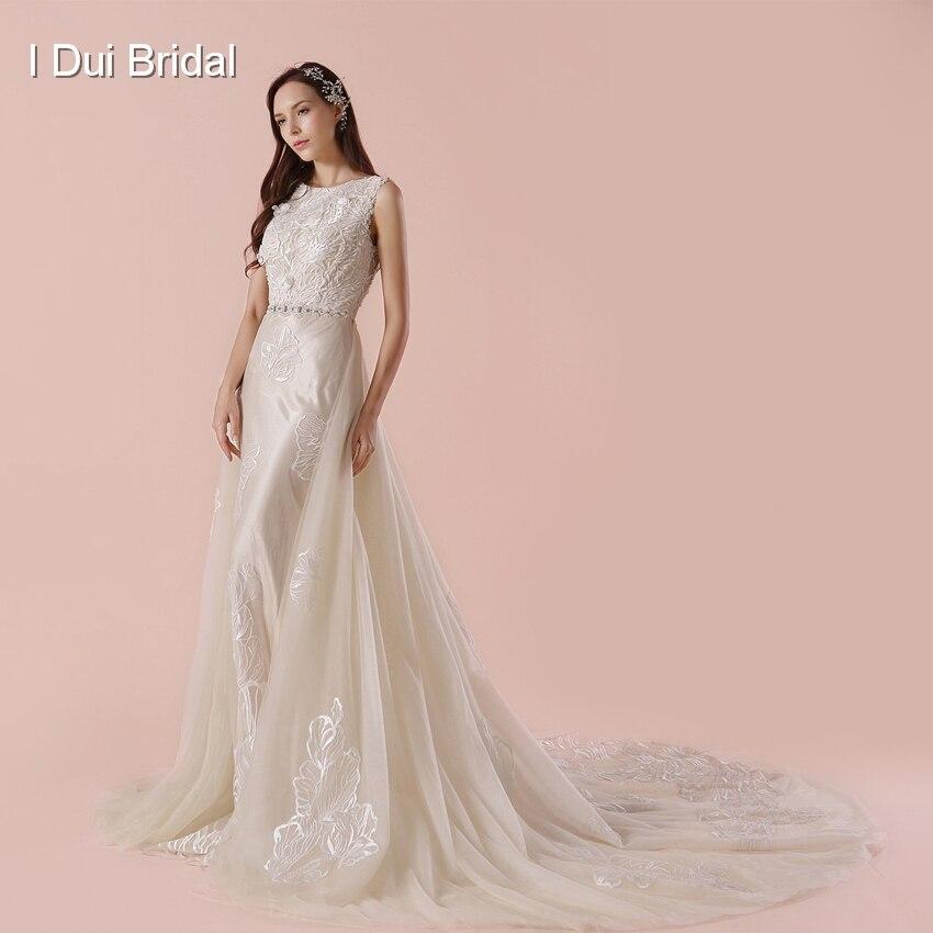 Detachable Outskirt A Line Wedding Dress 2018 New Arrival Lace Appliqued Beaded Belt