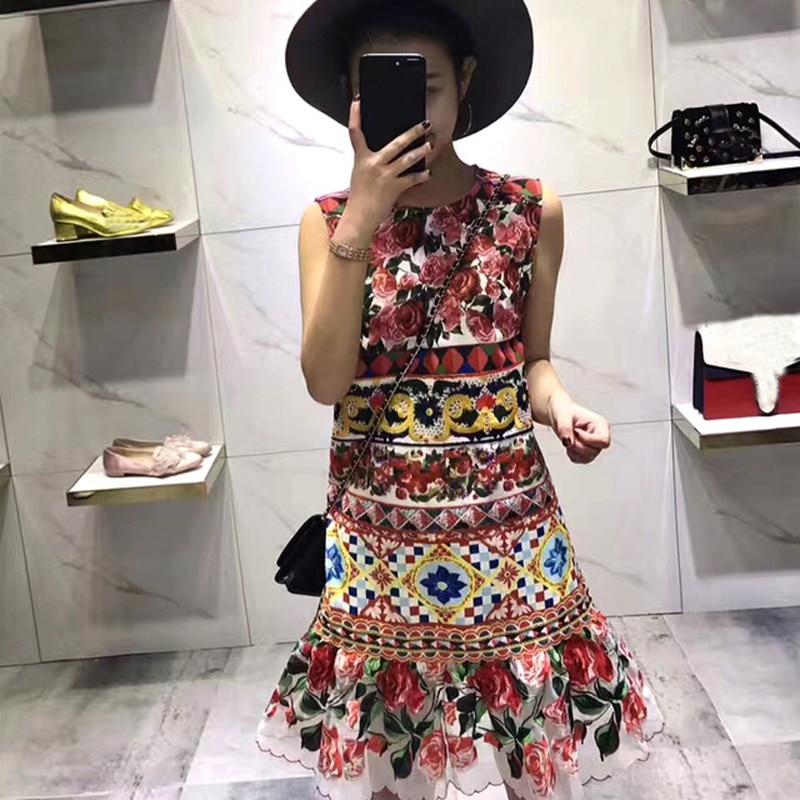 Robe Rose Imprimé Broderie Qualité Designer Magnifique Multi De Charme 2017 Haute Piste Femmes Sans Manches Floral Nouvelle D'été 35AR4jL