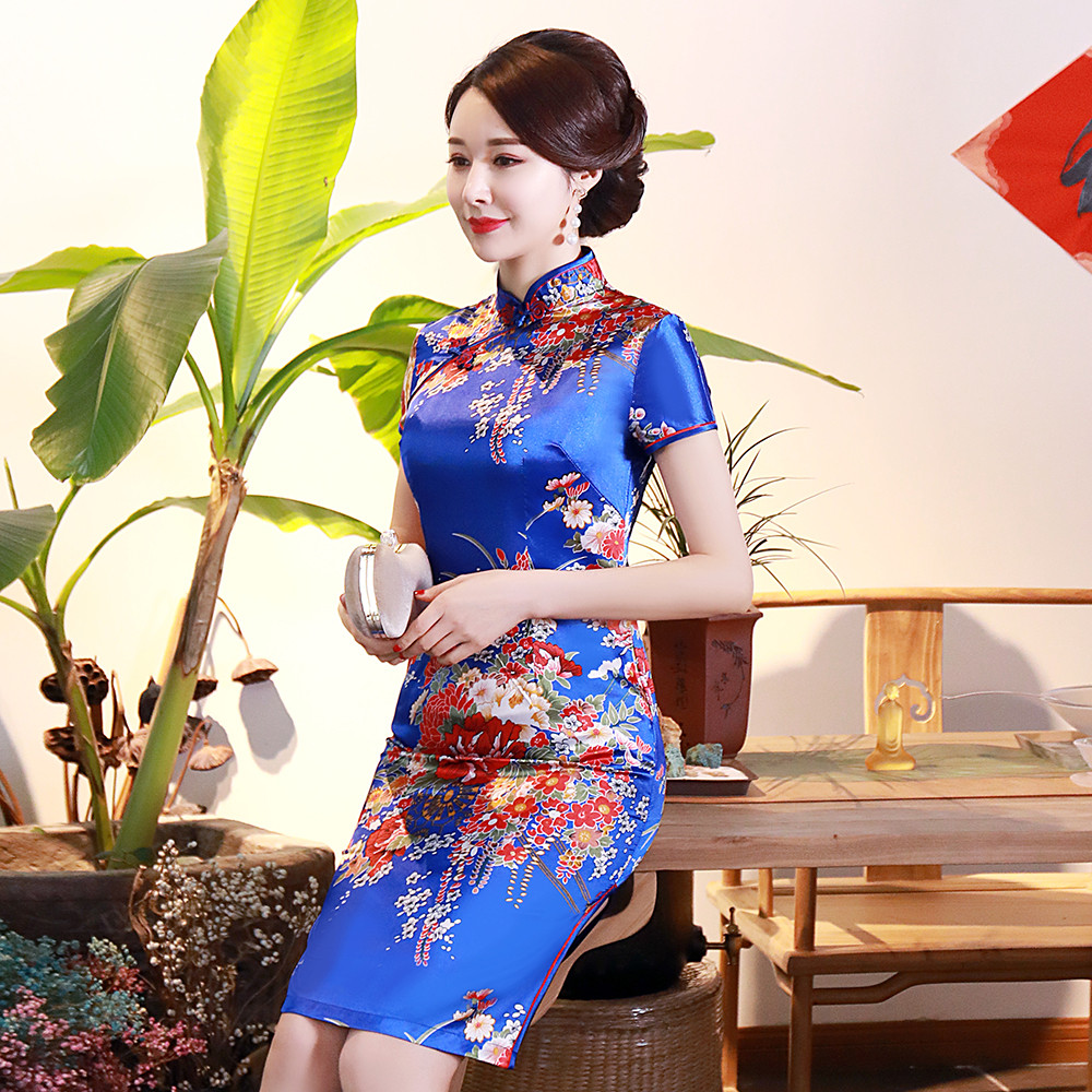 Royal Blue Lady Mandarin Collar Classic Qipao Summer New Short Slim Cheongsam Elegant Chinese Style Dress Gown Oversize S-6XL