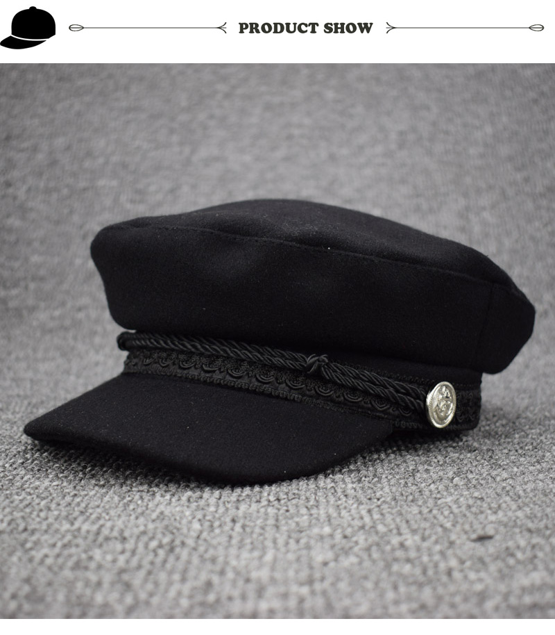 258a464f1bd Fashion Octagonal Hat Solid Visor Military Hat Autumn Winter Vintage wool  Patchwork Beret Cap For Women England Style Flat Cap