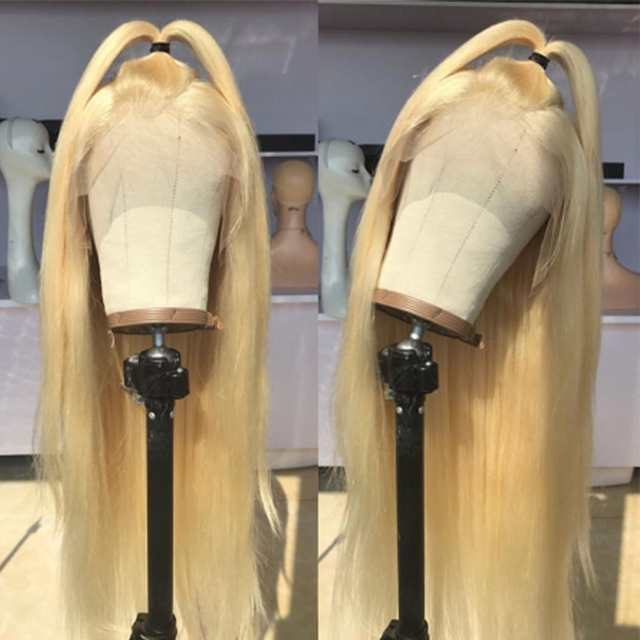 #613 Pre Plucked Glueless Full Lace Human Hair Wigs Straight with Baby Hair Around Free Part Brazilian Remy Hair Wig 2