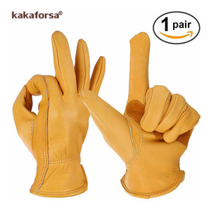 Image 4 - Kakaforsa moda genuíno couro amarelo luvas de inverno dos homens esportes ao ar livre à prova vento luvas quentes dedo cheio correndo luva