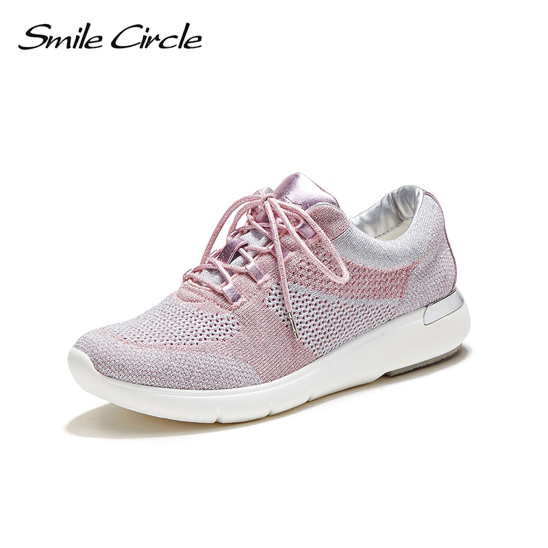 Smile Circle Spring Autumn Wedges Sneakers Women Fashion Lace-up Flat Platform Shoes For Women Comfortable Casual Shoes C717B03