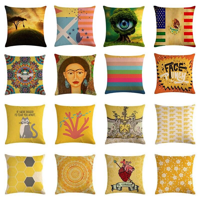 45x45cm géométrique housse de coussin pour Safa décor à la maison fleur jaune voiture taie d'oreiller coton Lien taie d'oreiller