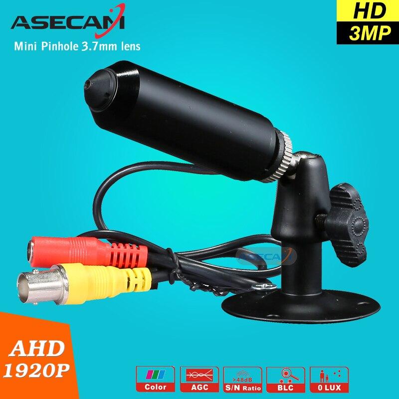imágenes para New Super HD AHD 3MP CCTV Mini 1920*1080 P de Vigilancia Micro Pequeña Bala de Seguridad a prueba de Vandalismo Negro cámara 3.7mm lente del agujero de alfiler