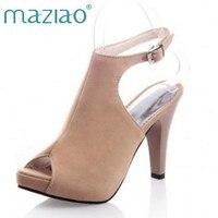 MAZIAO giày nữ Mùa Hè thời trang dép nữ cao gót opentoe kích thước 40-43 nhỏ 31-33 sexy dây đeo đấu sĩ của phụ nữ giày