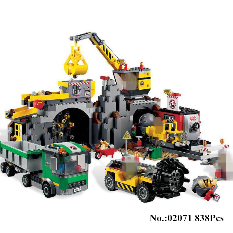 H&HXY IN STOCK 02071 838Pcs The City Mine Set Assemblage Building Blocks Bricks Educational DIY Toys Christmas Gift lepin in stock h