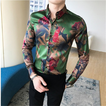 Male Long Sleeve Korean Trend Personality streetwear green Tops Male shirts casual slim fit Hairstyle Division England dress