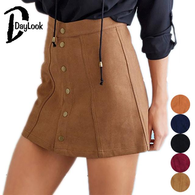 DayLook Otoño Falda de Las Mujeres de La Vendimia Faux Suede 90's Mini Una Línea de Falda de Cintura Alta Bodycon Falda Elegante Falda Más El Tamaño XS-XL