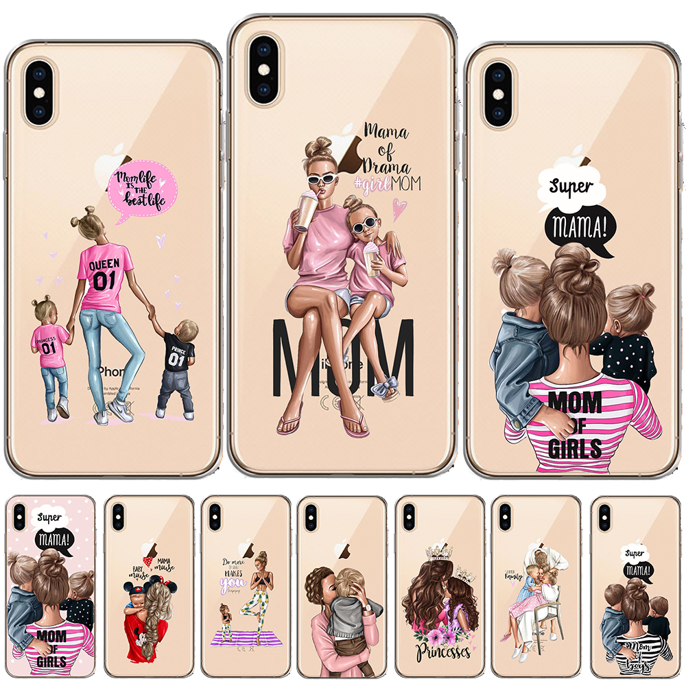 Black Brown Hair Baby Mom <font><b>Girl</b></font> Queen Soft Case <font><b>For</b></font> Funda <font><b>iPhone</b></font> 8 7 <font><b>6</b></font> 6S Plus 5 5S SE <font><b>Cover</b></font> <font><b>For</b></font> Capa <font><b>iPhone</b></font> 11 Pro X XS Max XR image
