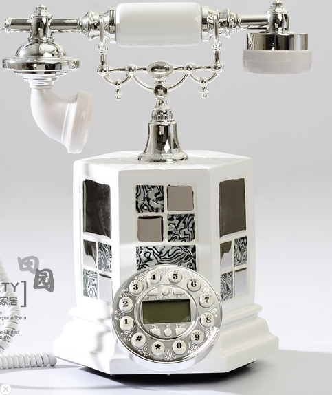 Fashion Modern White Vintage Telephone Household Caller Id  Hands Free/backlit