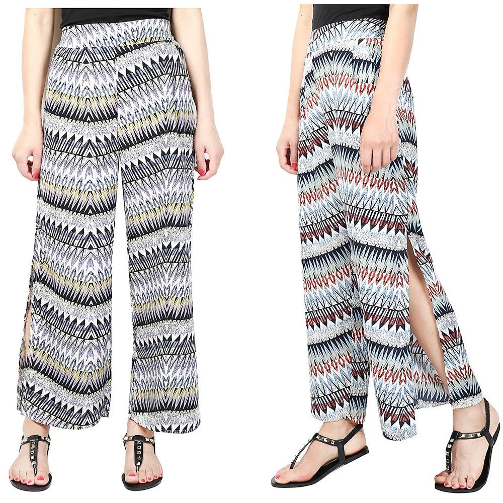 Hoffen 2017 Ženy Šifónové kalhoty se širokým stehnem Sexy Side Split Boho Letní plážové kalhoty Palazzo Casual Volné vysoké pasové kalhoty