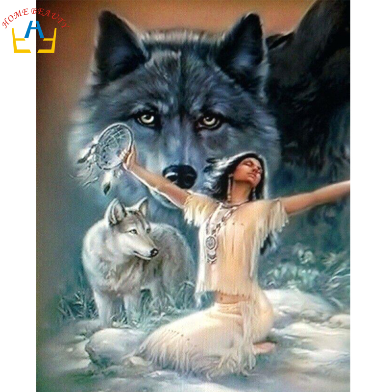 Fantasy Art PRINT Wolf Shaman Woman Red Hair Celtic Nature Animal Kindred
