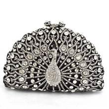 Luxus diamanten schwarz pfau frauen handtaschen strass abendtaschen für hochzeit braut partei handtaschen mit fabrik Q29