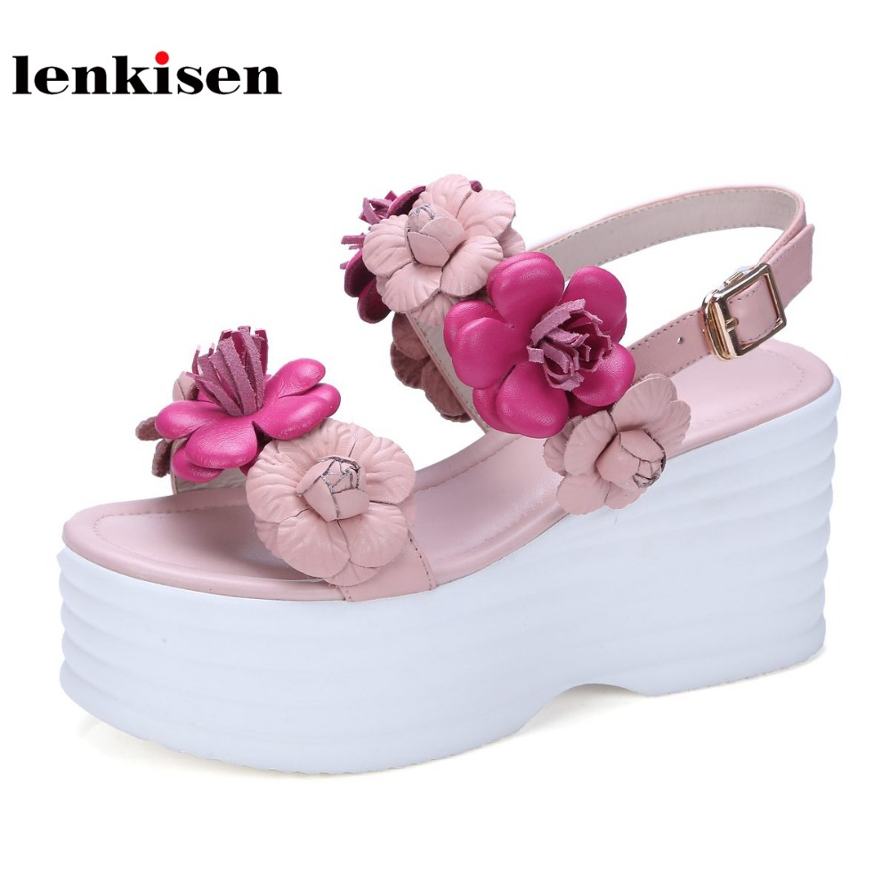 Lenkisen 2018 cow leather super high heels platform appliques casual summer shoes working seaside beach wedges women sandals L60 lenkisen genuine leather big size wedges summer shoes gladiator super high heels straw platform sweet style women sandals l45
