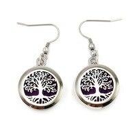 5 Pairs Silver Life Tree Perfume Locket Earrings 316L Stainless Steel 20mm 25mm Locket Earrings Fit