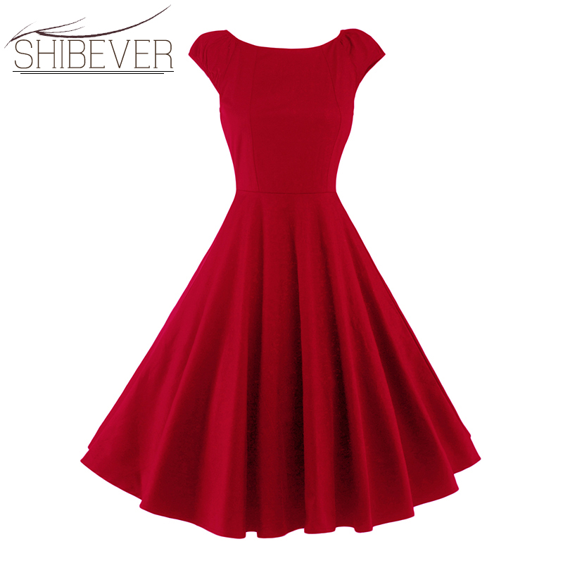 SHIBEVER A-line Casual Large Swing Dresses Womens