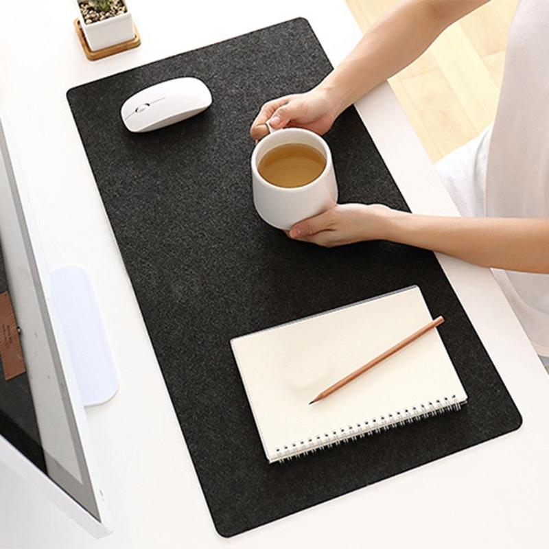 Simple Felt Cloth Mouse Pad Keyboard Cushion Pad Office Home Desk Mice Mat Supplies 630 X 325 X 2mm Large Size Black/ Dark Grey