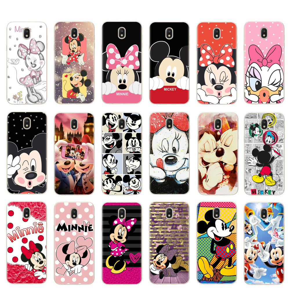 Clear silicone Case For Samsung Galaxy J3 J5 J7 2016 2017 J4 J6 Plus 2018 Note 8 9 Mickey Minnie Kiss Back Cover TPU Phone Cases image