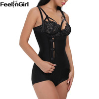 FeelinGirl Braless Slim Body Shaper Zip Clip Firm Tummy Control Compression Bodysuit Boyshort For Women Plus