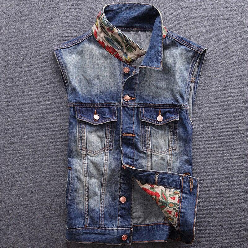 Style japonais mode hommes gilet couleur bleue inde Totem broderie Denim gilet hommes Patch col sans manches Hip Hop veste hombre