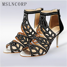 цена Size 34-48 Women Sandals Boots Peep Toe Women High Heels Shoes Fashion Gladiator Casual Cut Outs Rhinestones Crystal Thin Heel онлайн в 2017 году