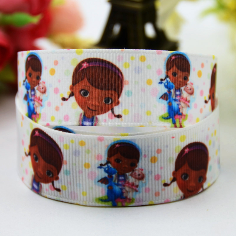 7/8 (22mm) Doc McStuffins Cartoon Character printed Grosgrain Ribbon satin ribbons Party decoration OEM X-00381 10 Yards